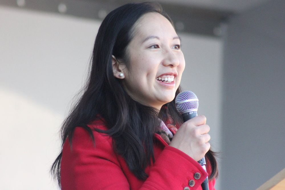 Photo courtesy of Flickr  Dr. Leana Wen speaking at a Women's March.