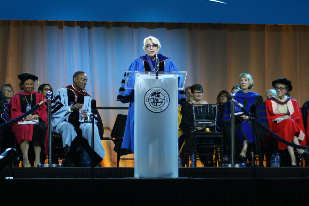 Photo by Izzy Burgess '19   Sonya Stephens speaks at the inauguration ceremony, which took place on Sept. 29 in Kendall's Field House.