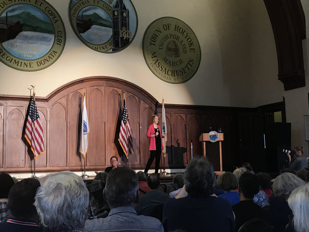 Photo by Natalie Kulak '21   Senator Elizabeth Warren spoke to citizens during a town hall at the Holyoke City Hall Auditorium on Sept. 29.