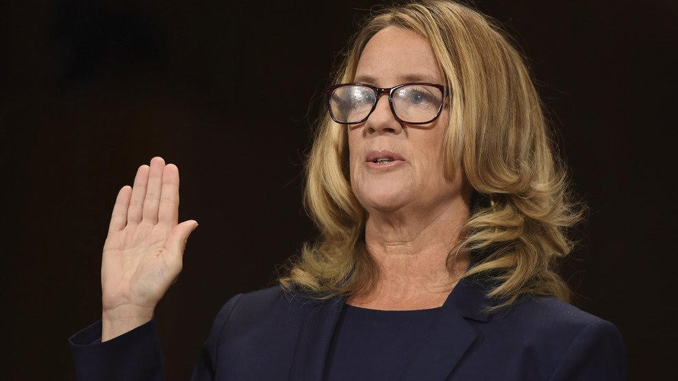 Photo courtesy of Flickr   Dr. Christine Blasey Ford takes an oath at the hearing.