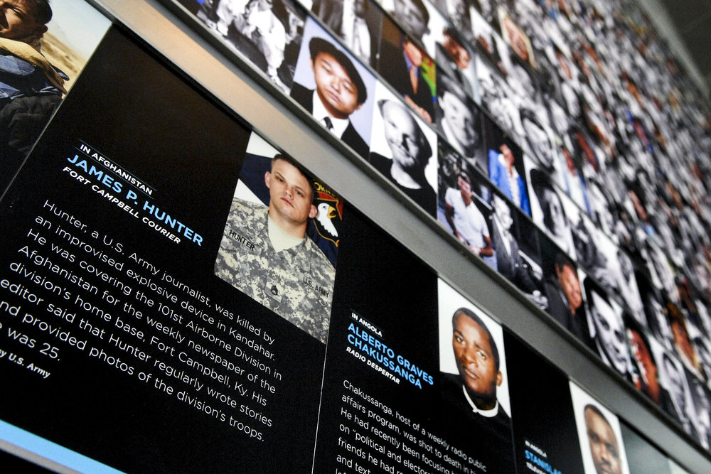 Courtesy of WikiCommons   The memorial for fallen journalists at the Newseum in Washington D.C.