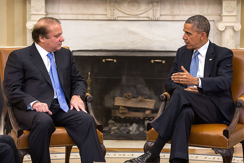Photo courtesy of WikiCommons   Former President Obama and former Pakistani Prime Minister Nawaz Sharif sit after a 2013 conversation.