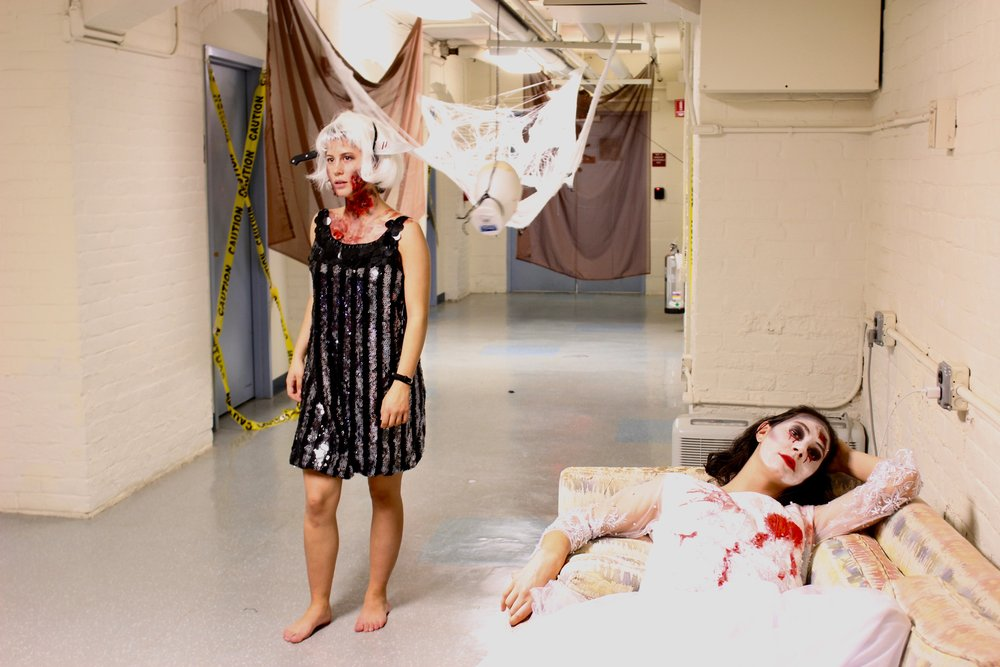 "Photo by Indira Poole '20   Katie Cashin '19 (left) and Dale Leonheart '19 (right) acted as ""Party Girl"" and ""Dead Bride"" during the event."