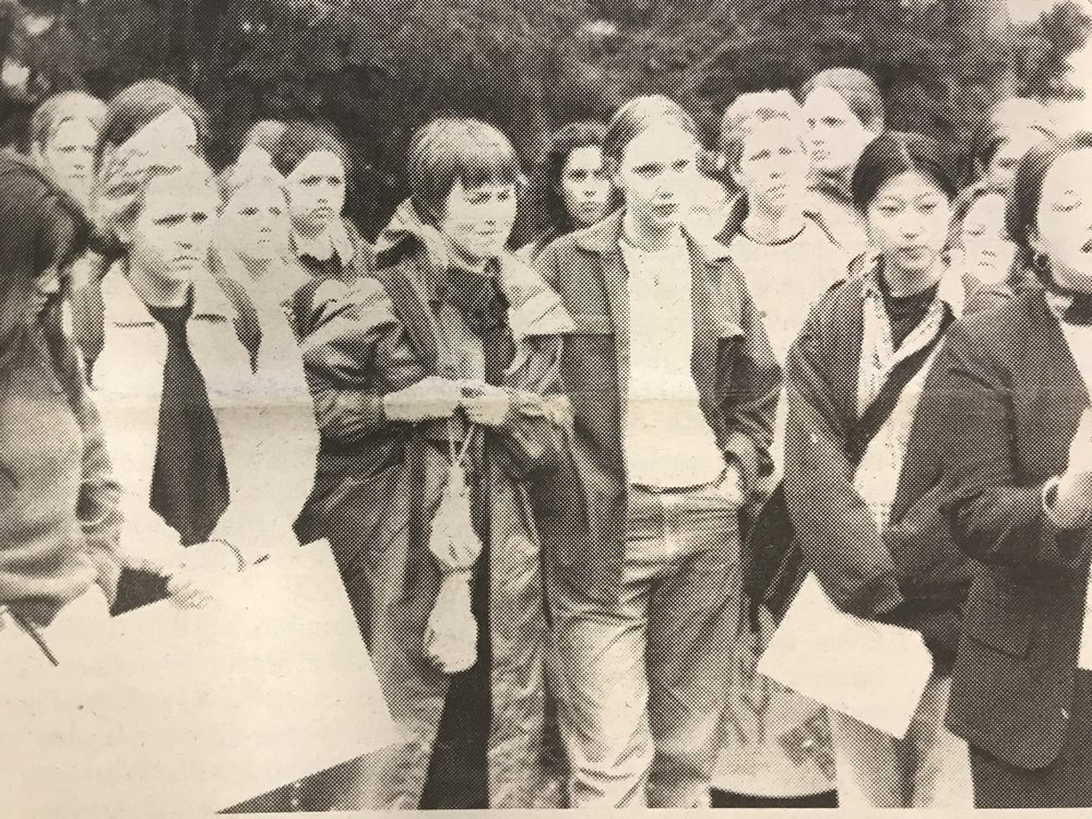 Image courtesy of Mount Holyoke Archives and Special Collections  Amanda Sapir '99 speaks at a 1997 rally outside Blanchard in protest of the lack of funding for cultural houses and the Eliot House, among other issues.