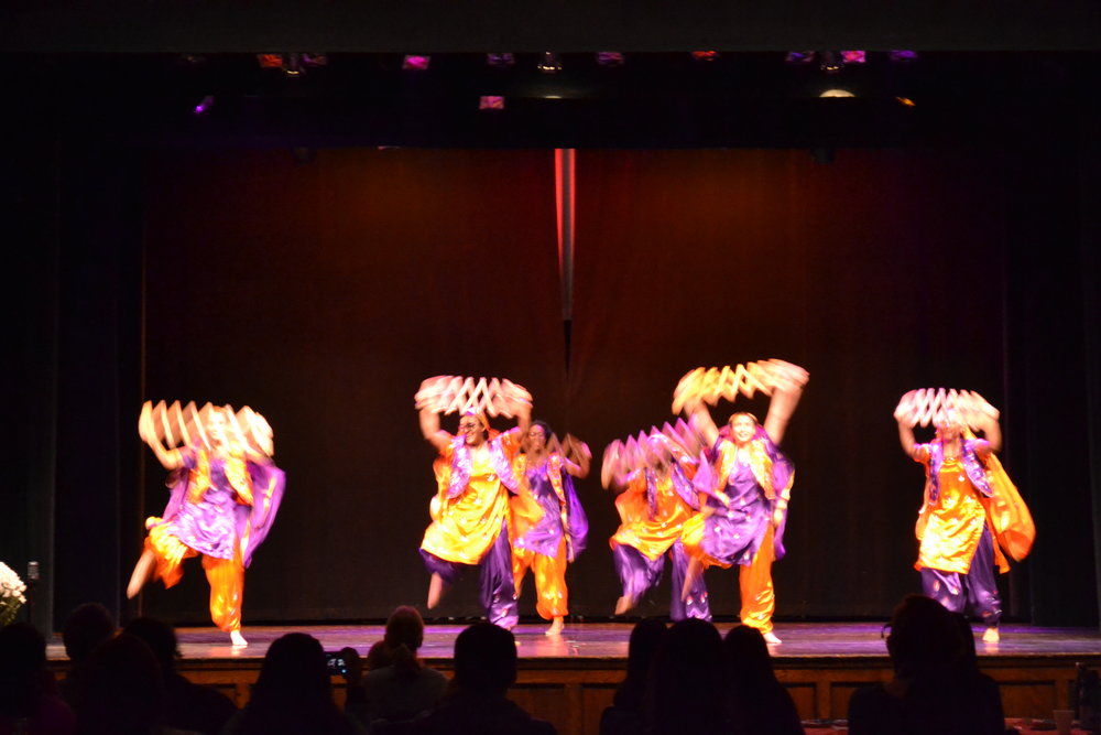 Photo by Flannery Langton '22  MHC student dance group Bhangra performs a traditional Indian dance.
