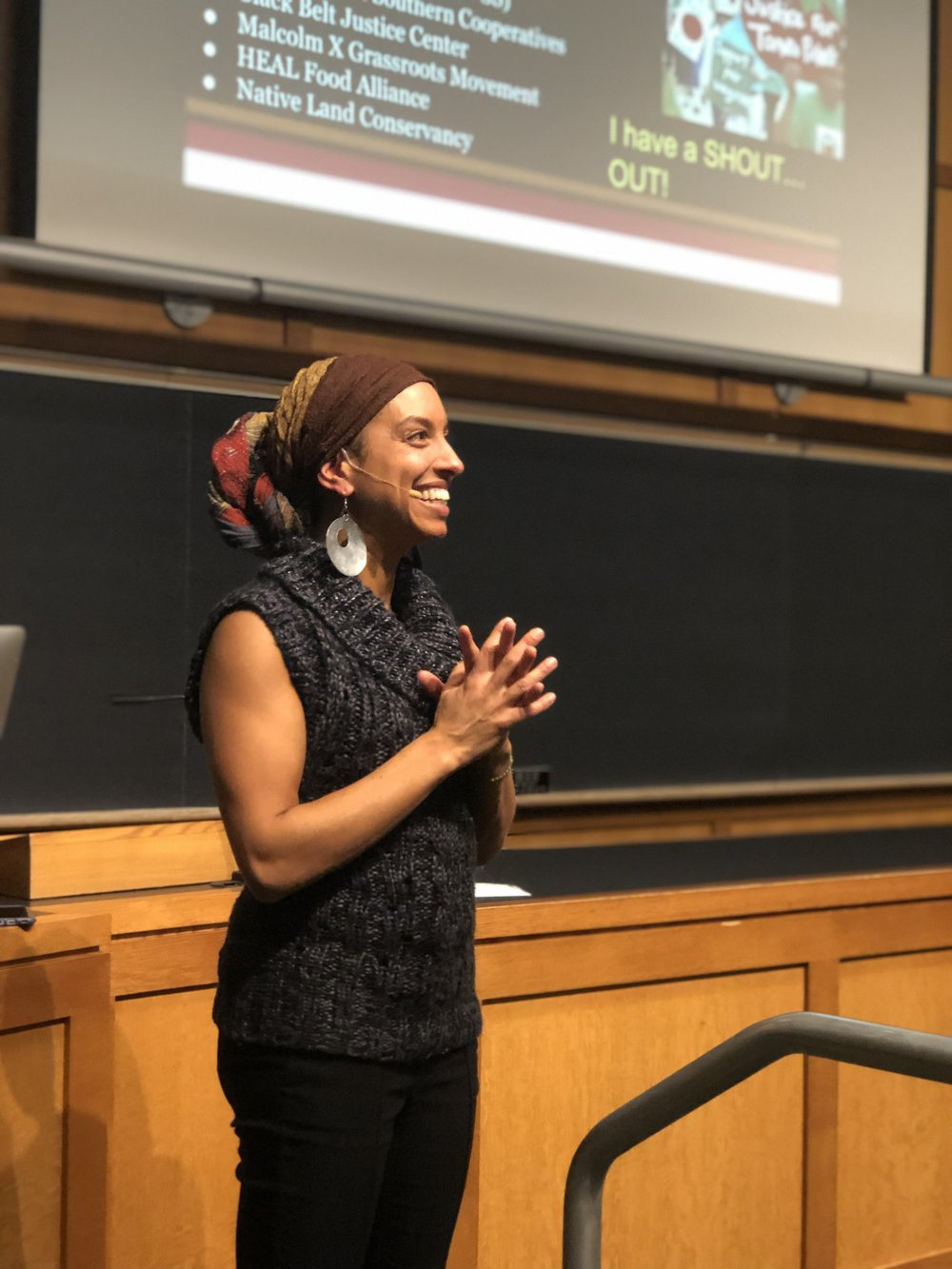 Photo courtesy of Amelia Green '20   Leah Penniman, an educator, farmer, author and activist, gave a talk about food justice on campus on Nov. 29.
