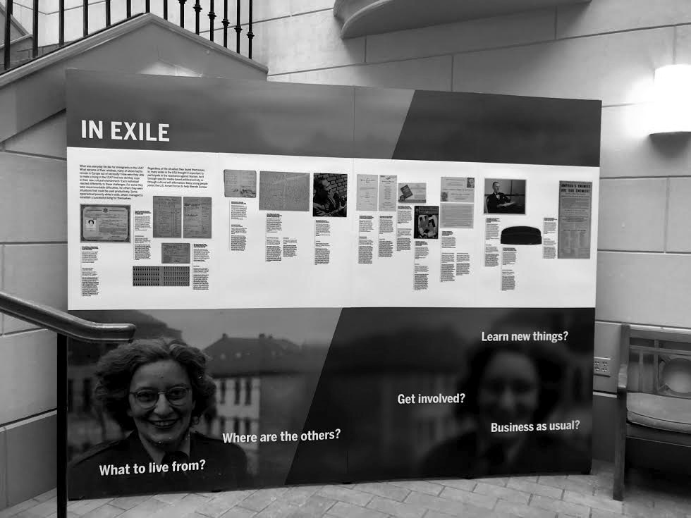"Photo by Anna Kane '20  The ""Exile. Experience and Testimony"" traveling panel exhibit is now on display in the library atrium."