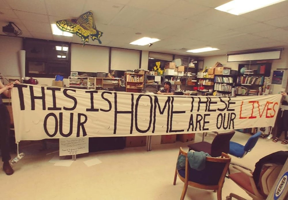 Photo courtesy of the Hampshire Rise Up Coalition  HampRiseUp is holding sit-ins at the Dean of Student's Office and Cole Science Center at Hampshire.