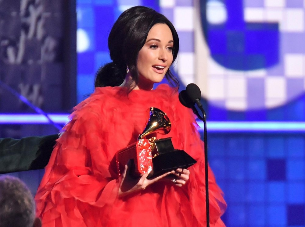 """Kacey Musgraves accepting the Album of the Year award for """"Golden Hour"""" at this year's Grammys."""