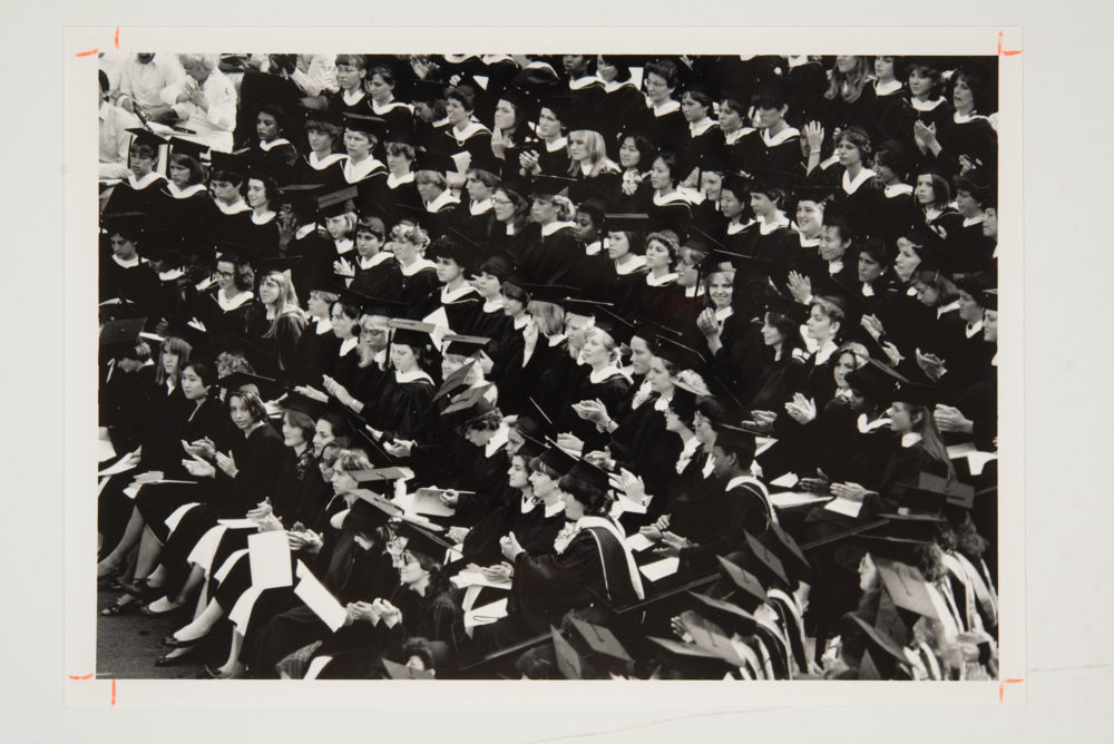 Photo courtesy of the Mount Holyoke Archives  The Class of 1984 attends that year's Commencement ceremony in Gettell Ampitheater on campus.
