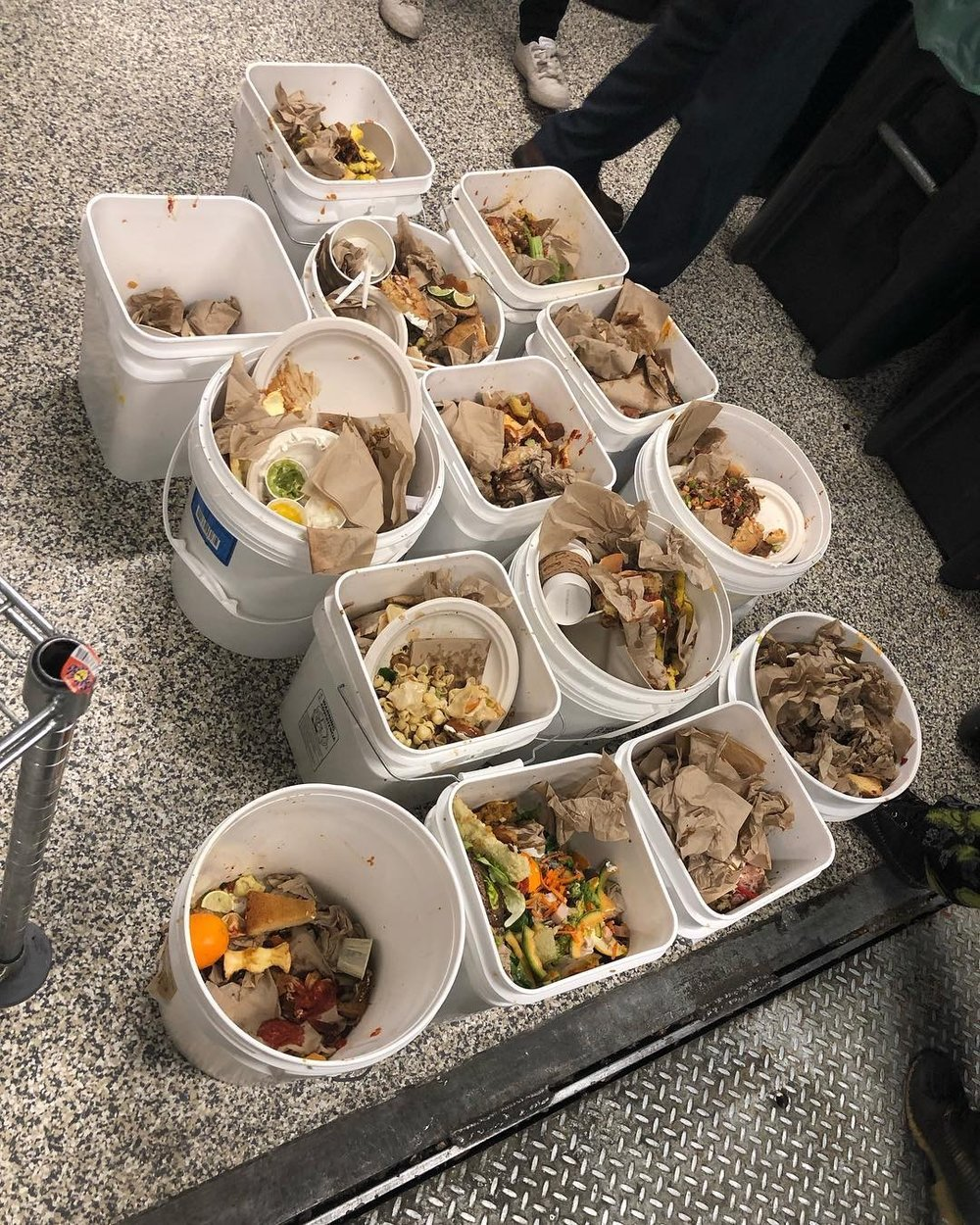 Photo courtesy of Joselin Marroquin '22  Food waste collected over the span of two hours in the Dining Commons.