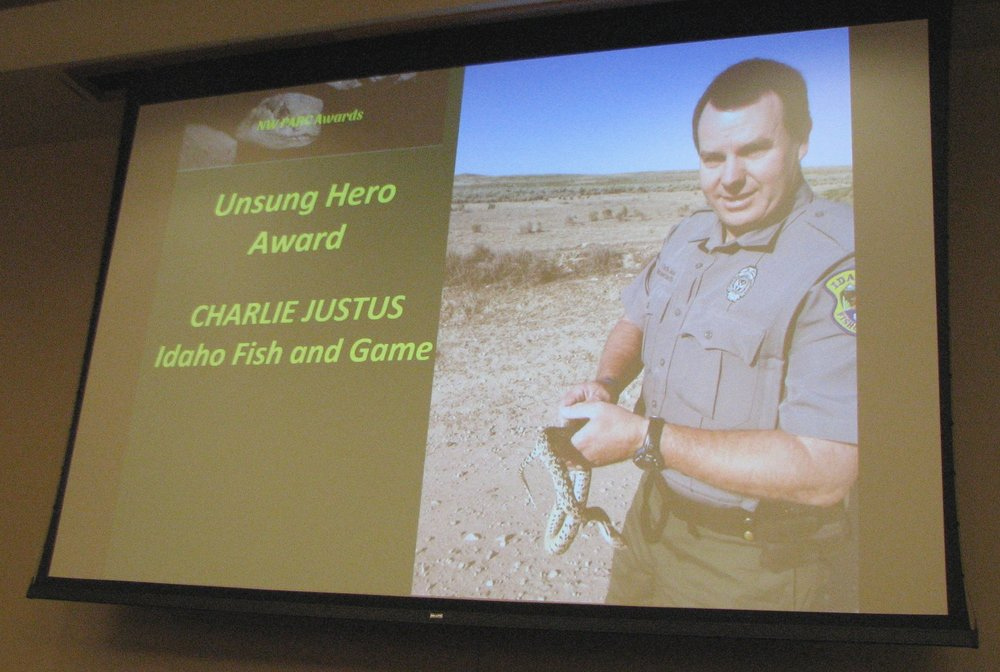 Unfortunately, Charlie Justus couldn't attend this year's meeting, but we still shared his many accomplishments with everyone.