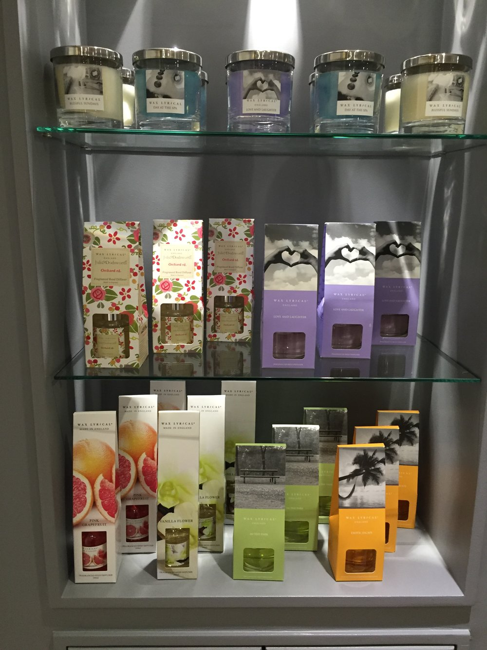 some of our gift range at tooth dental surgery in waterloo, london - wax lyrical candles and reed diffusers