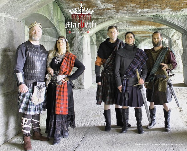 07 Macbeth (Clay Hawks), Lady Macbeth (April Purinton), McDuff (Dennis Crews), Malcolm (James McEligott) , Banquo (Nate Levesque)  looking at camera.jpeg