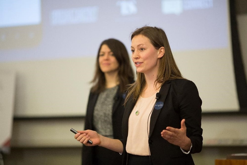 Sophia Wagner (foreground), Lead Product Analyst at Mighty, presents at the University of Chicago Booth School of Business.