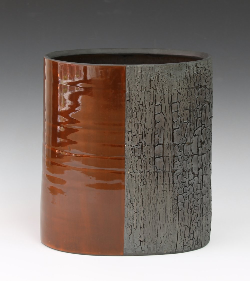"Rust and Bark Vessel     13""x7.5""x5"""