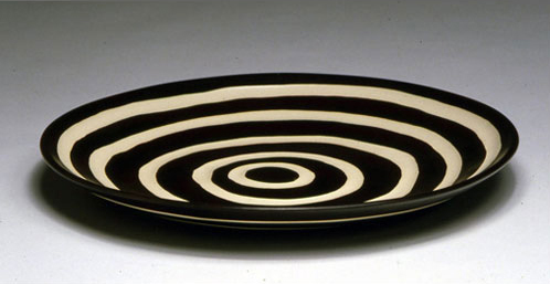 "Platter wide stripe,  whiteware, 22""x1"", 2002"
