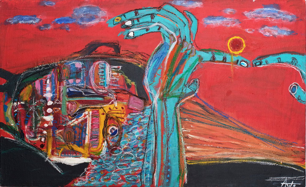 """ Plaza, Sunset ""    36 × 22 in  2015"