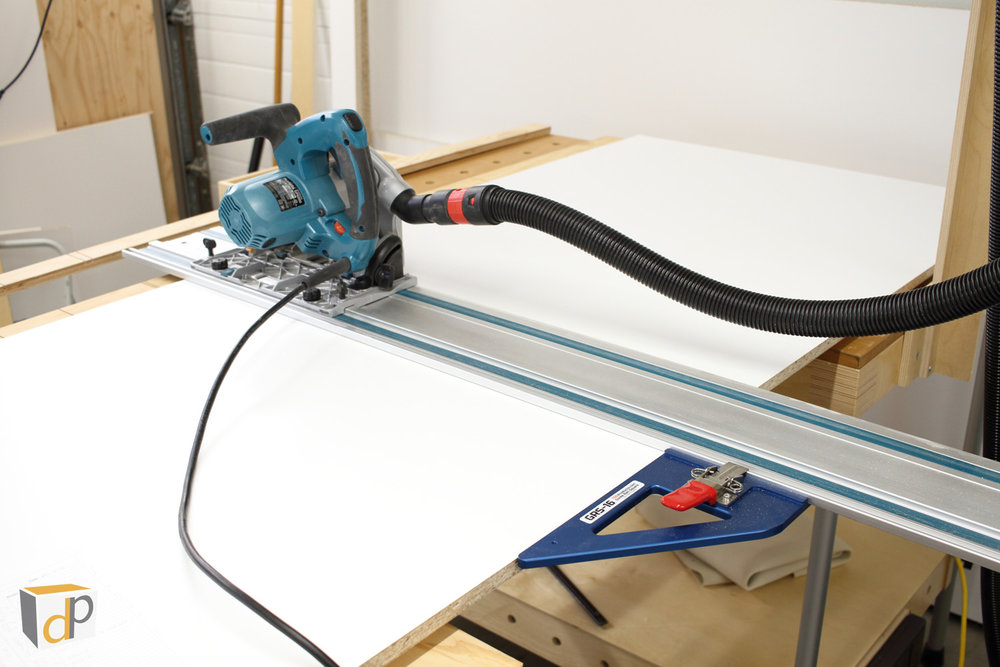 The GRS-16 being used to cross cut cabinet parts