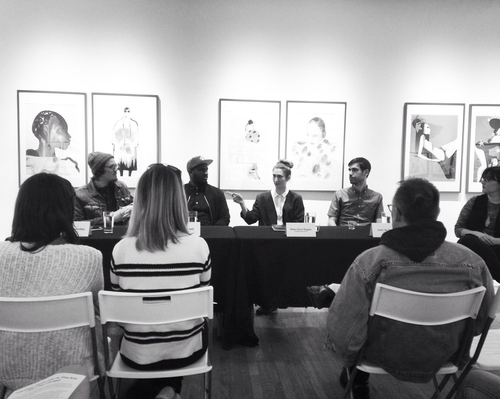 From last night's panel discussion in Hillyer Art Space on intersections between applied arts and fine arts with Josh de Sousa, No Kings Collective and Jose Fernandez, moderated by gallery director Allison Nance.