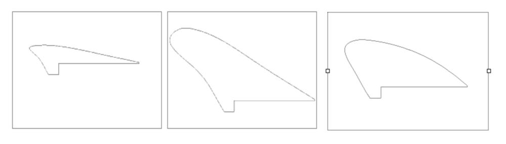 图示进气导入口最小,最大和最优的形状。