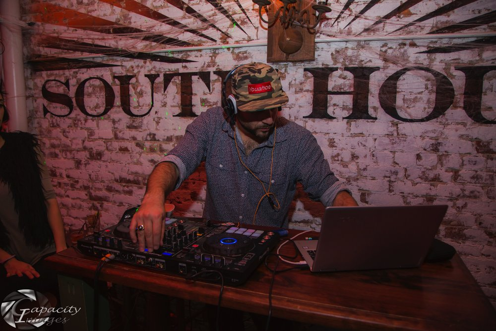 New Jersey/New York DJ Michael Demby entertaining at a Halloween party at the restaurant South House in downtown Jersey City