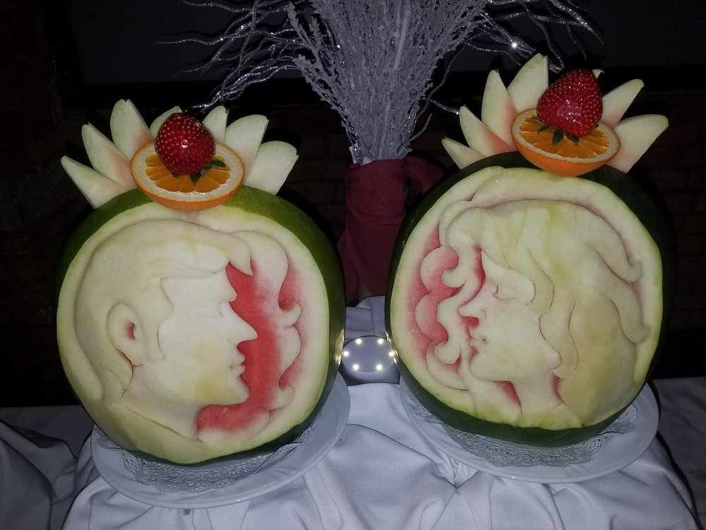 BONUS: Carved Fruit - These melons were carved to resemble the bride and groom. However, the groom had a beard and I can see how that can be hard to portray, but they did a great job!