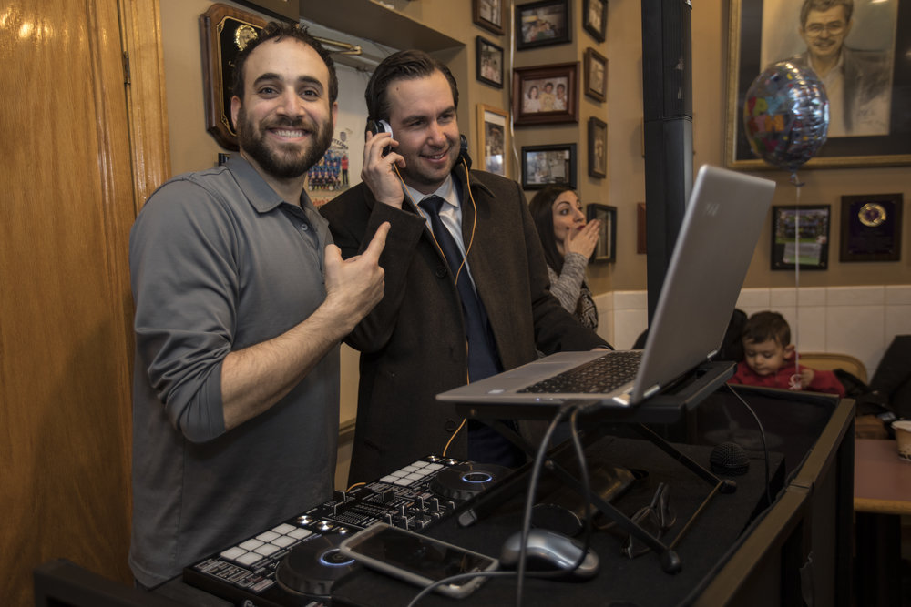 DJ Michael Demby with Mayor Stephen Fulop at Helen's Pizza Jersey City 50th Anniversary - Happy #anniversary Helen's Pizza in #jerseycity! #Happy to have played a part in your #specialday! Check out #mayor @Stevenfulop on the #1sAnd2s!Original Post