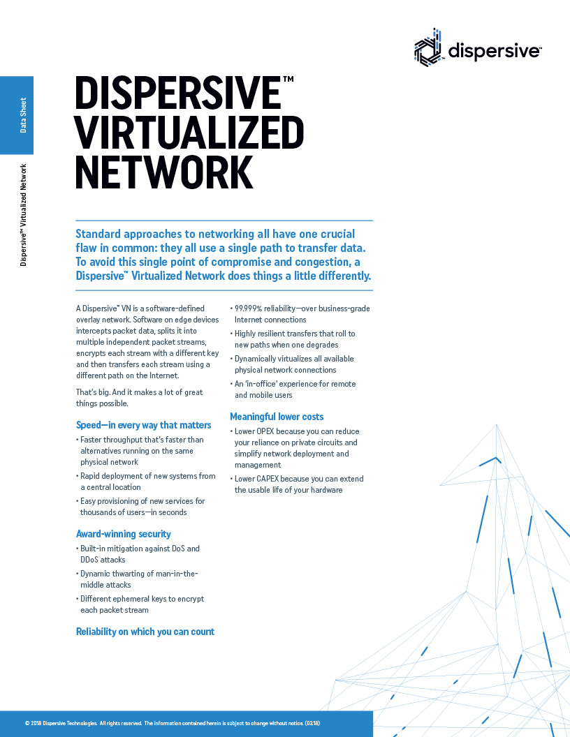Data Sheet: Dispersive™ Virtualized Network