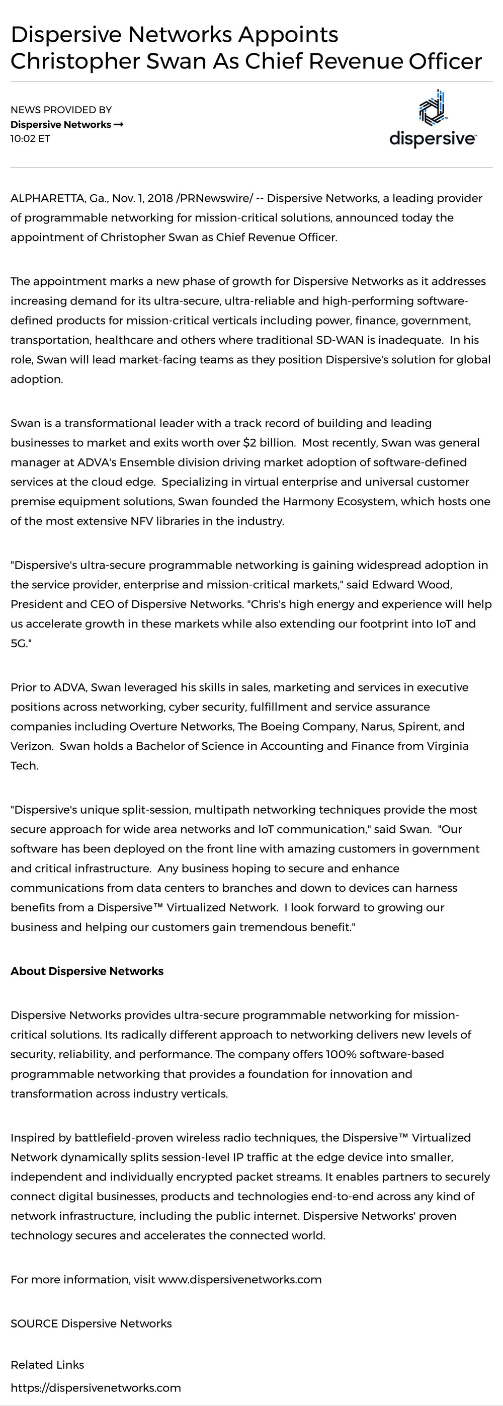 Dispersive Networks Appoints Christopher Swan As Chief Revenue Officer.jpg