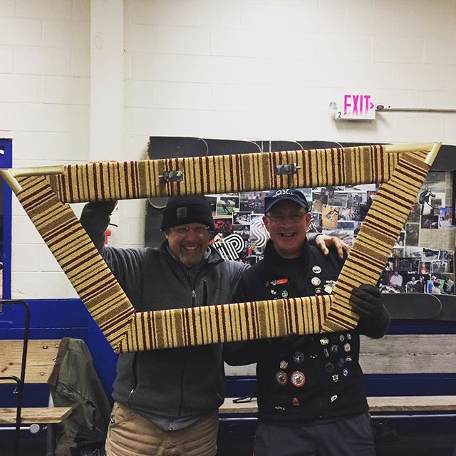 Meet Fruit-stripe, our new rock runner made by these two handsome curlers. Thank you, Glenn and Don! #rutvt #goodcurling #curling802 #curlrutland