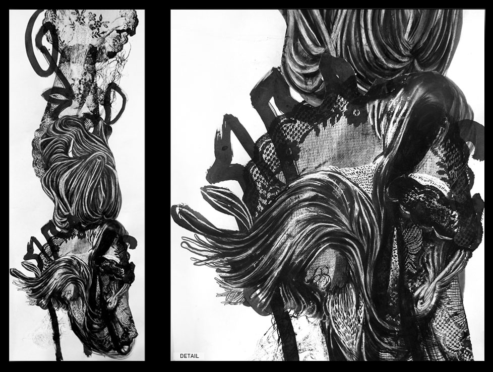 """GOOD LOVE"" . 2013 . 18""X52"" INK ON PAPERX"