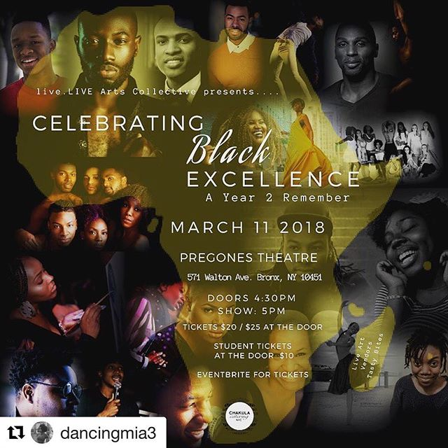 Can't wait to perform again this year for the second annual art showcase, Celebrating Black Excellence this Sunday. So many amazing performers, it's a privilege to be a part of this amazing event. Hope to see you there!  #Repost @dancingmia3 with @get_repost ・・・ Join us on Sunday, March 11th for our second annual art showcase, Celebrating Black Excellence, as we close out black history month. We are blessed this year to have so many dope artists. Don't miss out on this evening of excellence. • • • • • • •  @the_laron_project (Dancer) @kshed4ever (Singer) @rbashir_oms (Comedian) @vhill_poetry (Poet) @doucediva (Dancer) @brittbrattsmile (Blogger) @tiki_nations (Dancer) @zeyisays (Rapper) @germinthemaking (Poet) @nathaniels.dance.collective (dancer) @csment89 (Dancer) @shadow_tre (Dancer) @dancingmia3 (Dancer)  #BlackGirlsSmile #blackpower #blacklivesmatter #nycblack #creativity #creativeshows #nycperformingarts