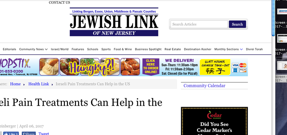 Jewish Link of New Jersey: Israeli Pain Treatments Can Help in the US