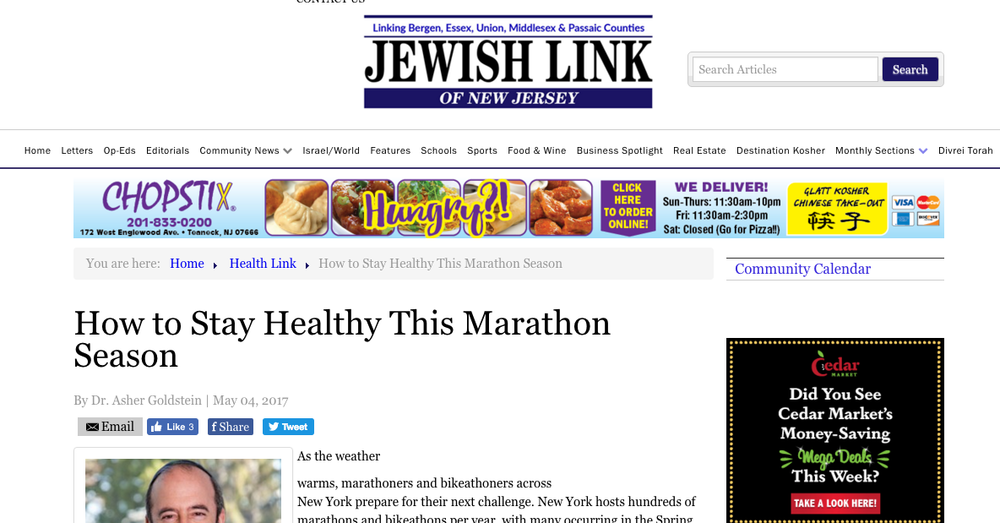 Jewish Link of New Jersey: How to Stay Healthy This Marathon Season