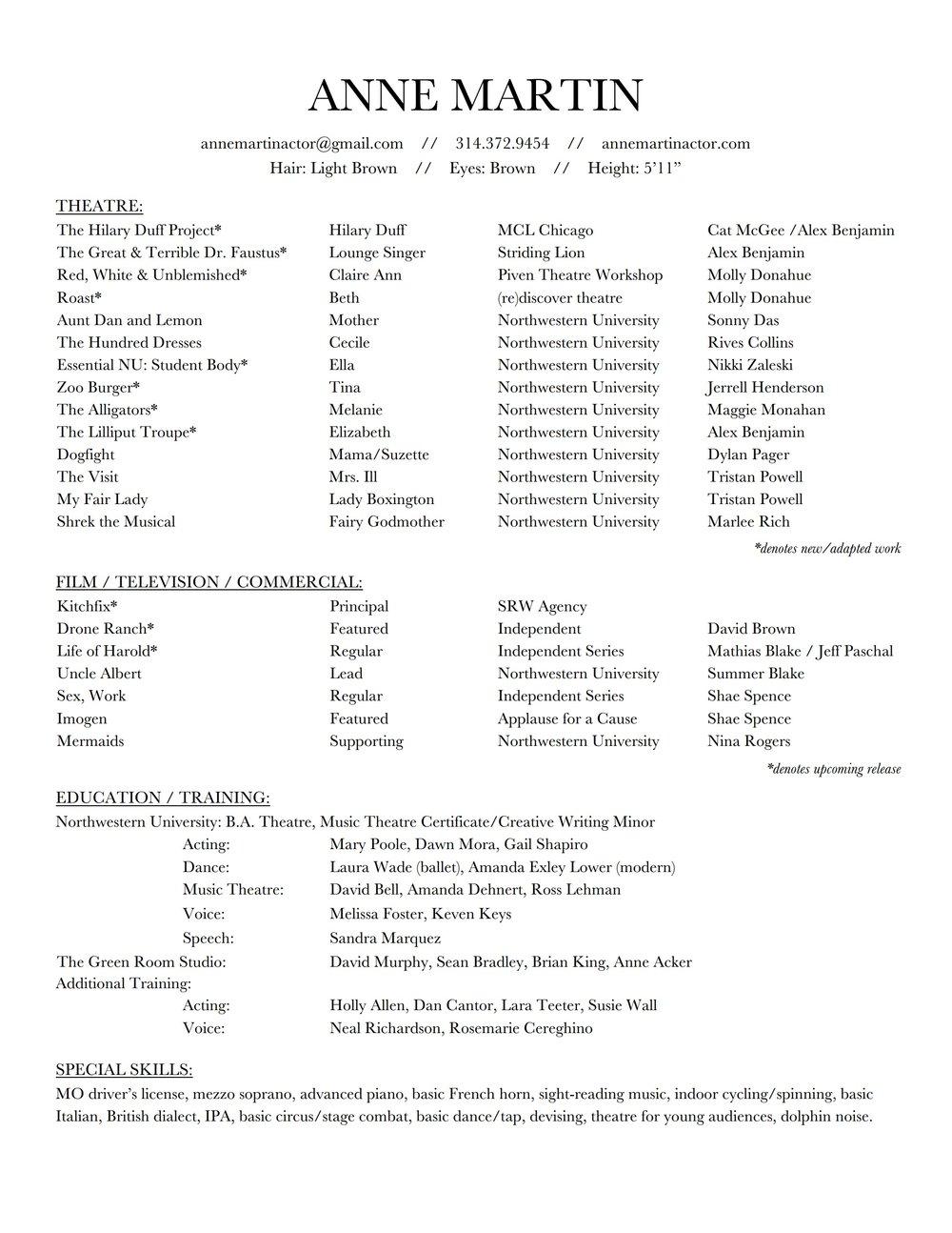 Resume — Anne Martin