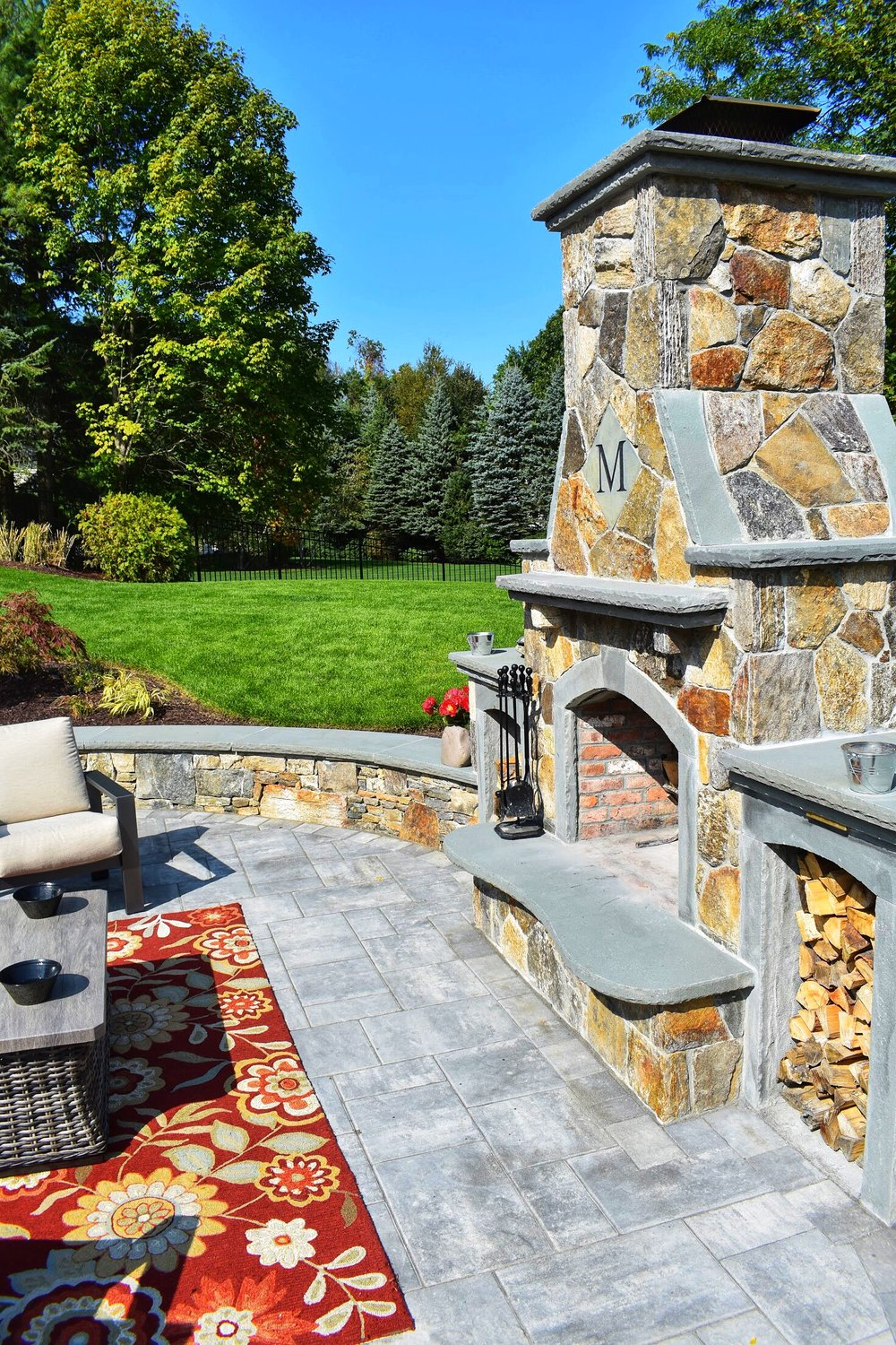 Outdoor Fireplace Pool Patio Masonry (38)