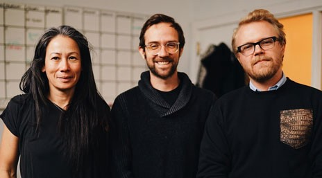 From left to right: Mei-Ling Wong, James George, Alexander Porter; photo credit: Amit Gupta