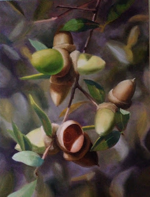 Here I have spent several sessions on the acorns and leaves in the foreground. Several more are required to finish the detail of the subject, and to balance it with the background.  The finished painting is found at the top of the post.