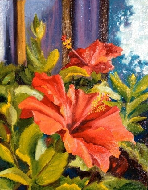 Mexican Hibiscus  - 8x10 - Oil on panel - SOLD