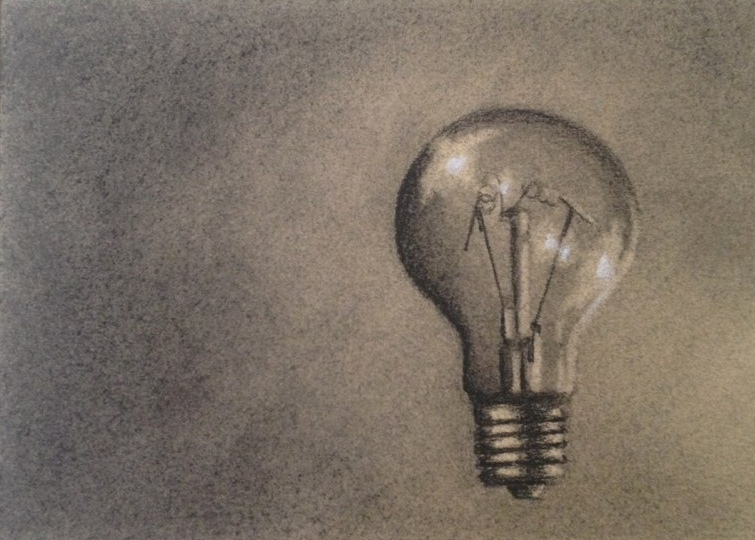 Will's Lightbulb - 5x7 - charcoal on paper