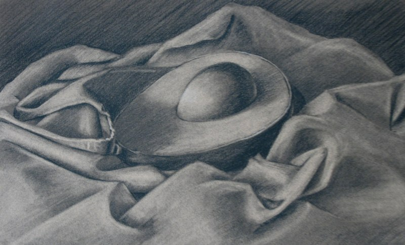 Avocado Half - 9x14 - charcoal on paper