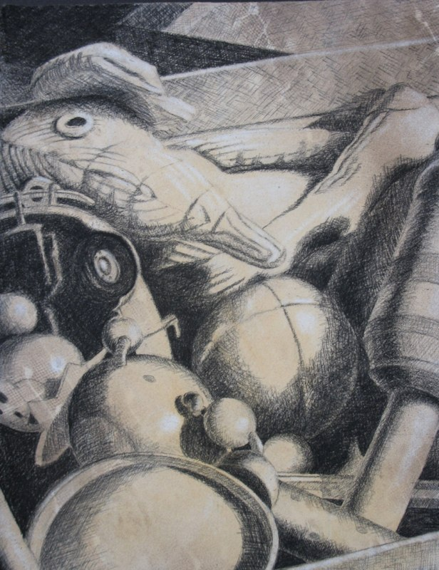Toy Box - 12x14 - charcoal and chalk on paper
