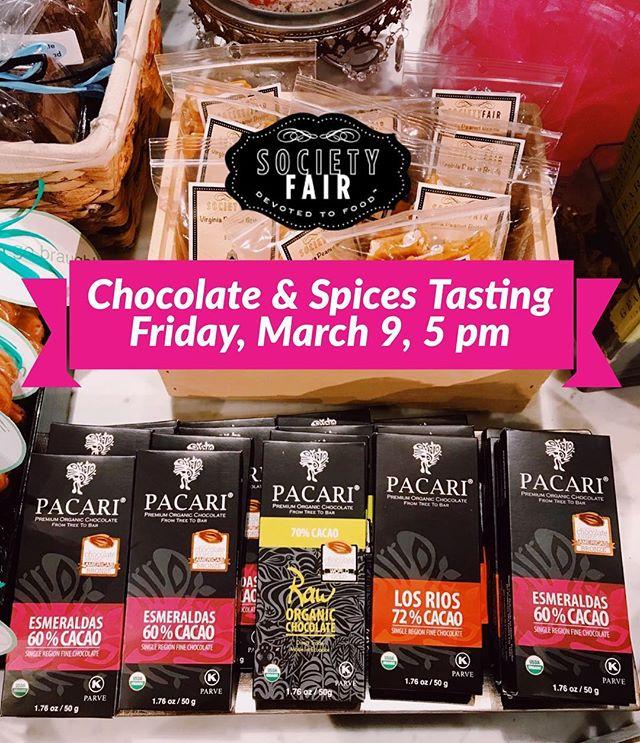 This Friday! Taste award-winning biodynamic organic #vegan & #glutenfree @pacarichocolate and @herbaria.de spices! March 9, 5 pm in the market. 🍫🍫🍫