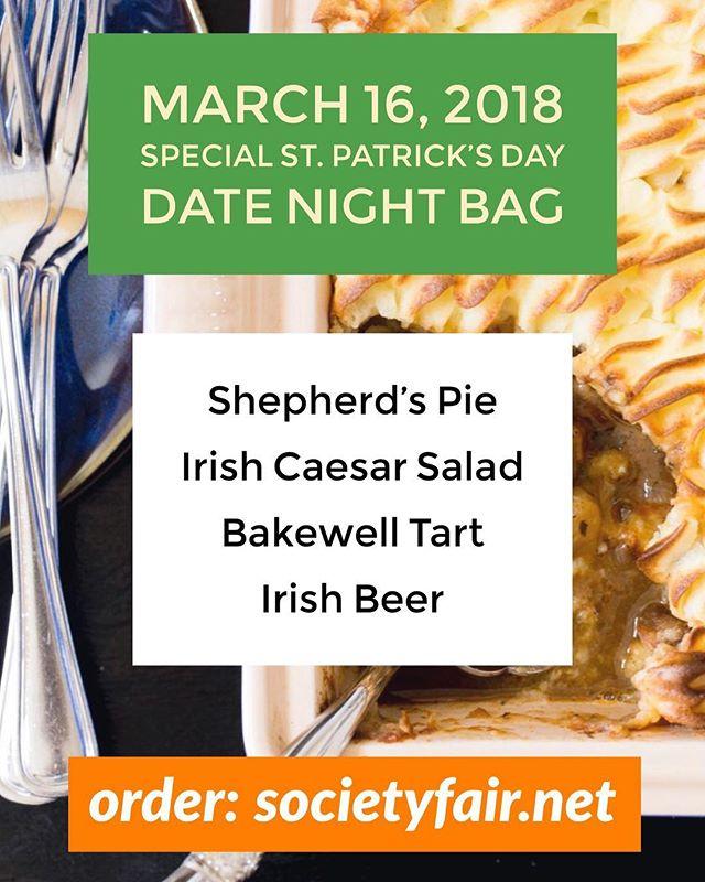 Special #StPatricksDay #datenightbag this Friday, Fair friends! Shepherd's pie, Irish Caesar salad, Bakewell Tart (cake & pie at the same time!), and #Irish beer! $49, serves 2. #MyIrishTable