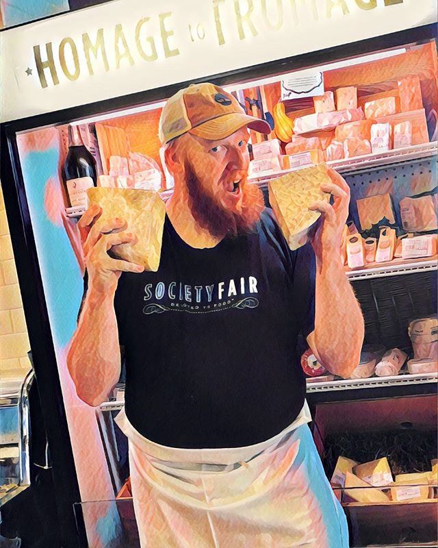 Justin, our resident curd nerd is such a ham with his cheese! Visit the Fair where you can get wine, sandwiches, and a cheesy smile! 🧀🤓 Make a reservation on our website at societyfair.net or call (703) 683-3247