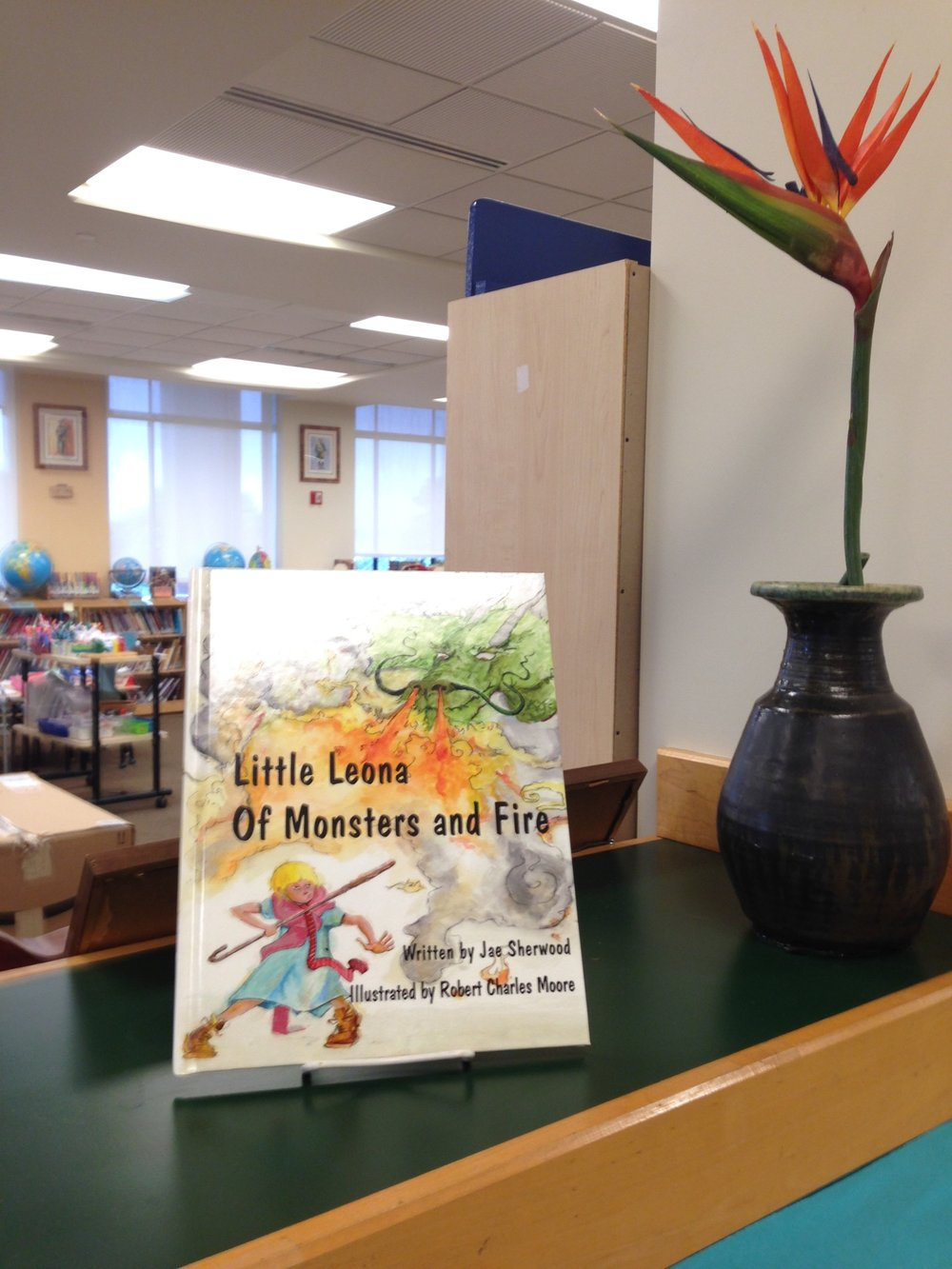 Little Leona displayed in a school library in Hawaii.