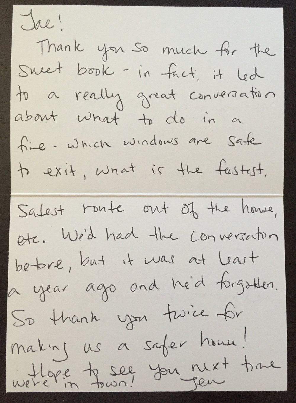 A thank you note from a grateful parent.
