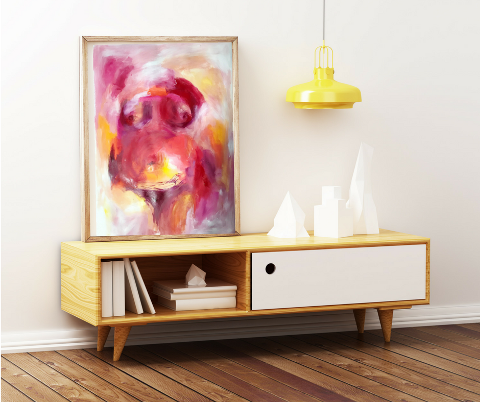 """""""Floral,"""" 28""""x43"""" Original Abstract Painting by Taylor Lee"""