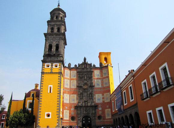Templo de San Francisco, a particularly controversial symbol in Puebla City, Mexico.